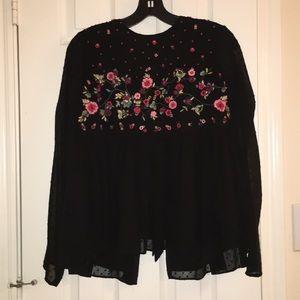 Zara long sleeve chiffon embroidered blouse